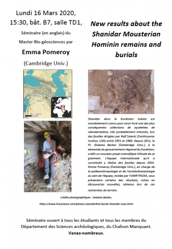 Séminaire PACEA : New results about the Shanidar Mousterian Hominin remains and burials, 16 mars 2020