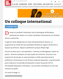 Un colloque international, Sud-Ouest du 3/12/2014